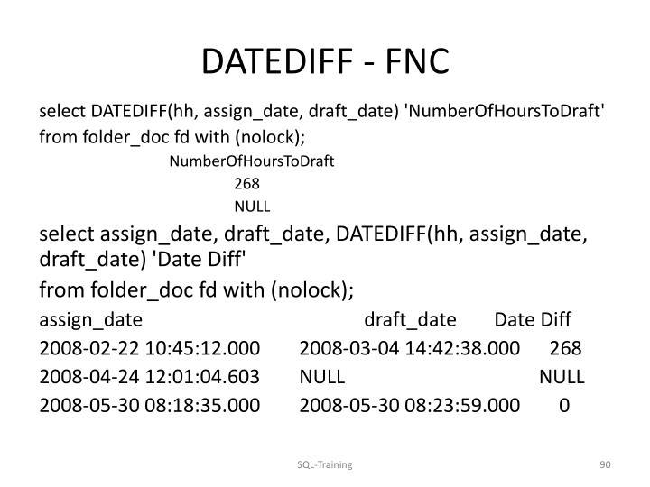 DATEDIFF - FNC
