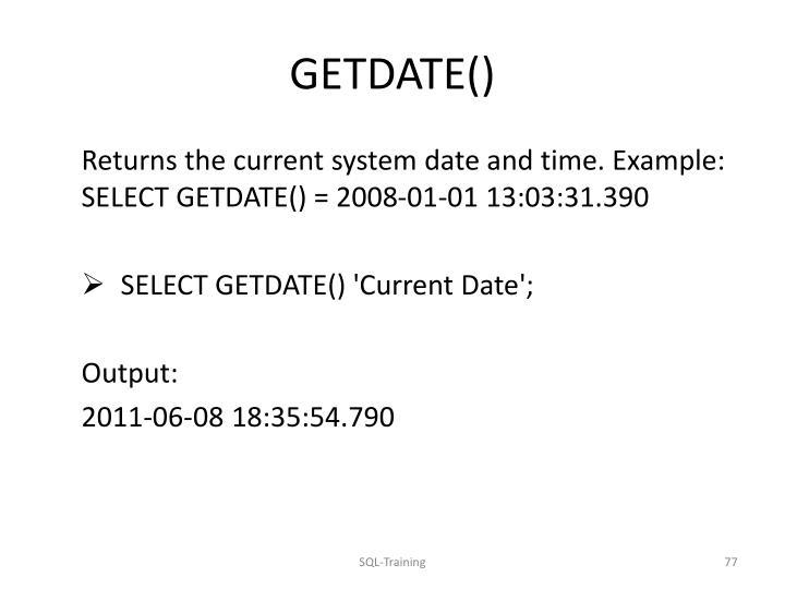 GETDATE()