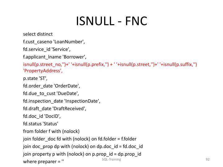 ISNULL - FNC
