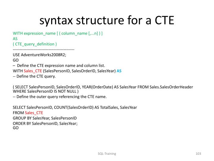syntax structure for a CTE