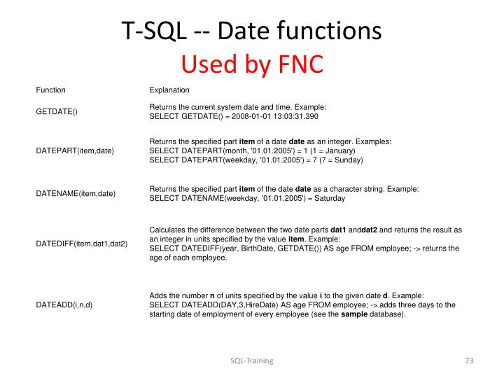 T-SQL -- Date functions