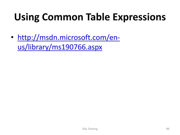 Using Common Table