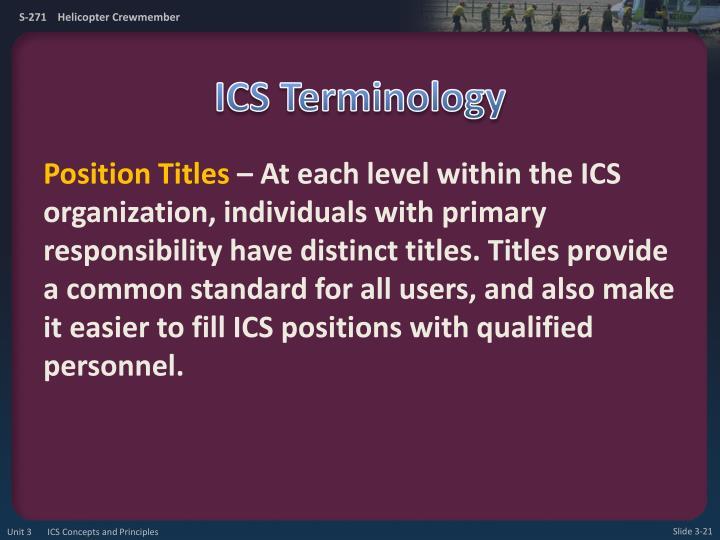 ICS Terminology