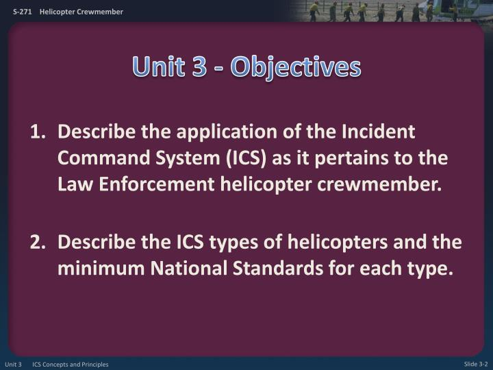 Unit 3 objectives