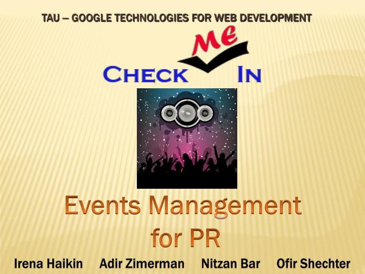 Tau google technologies for web development