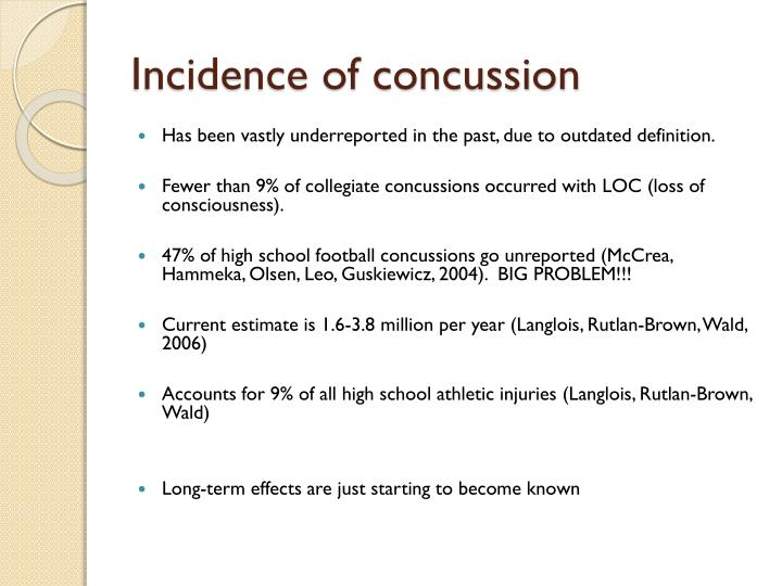 Incidence of concussion