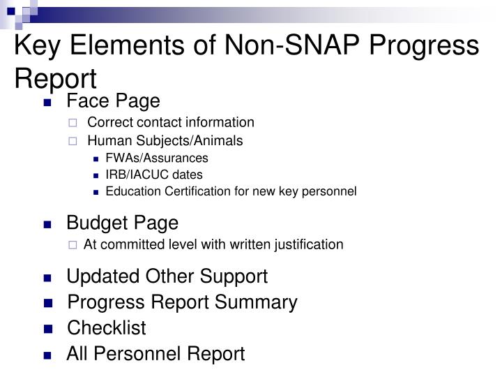 Key Elements of Non-SNAP