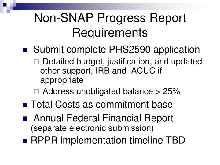 Non-SNAP Progress Report Requirements