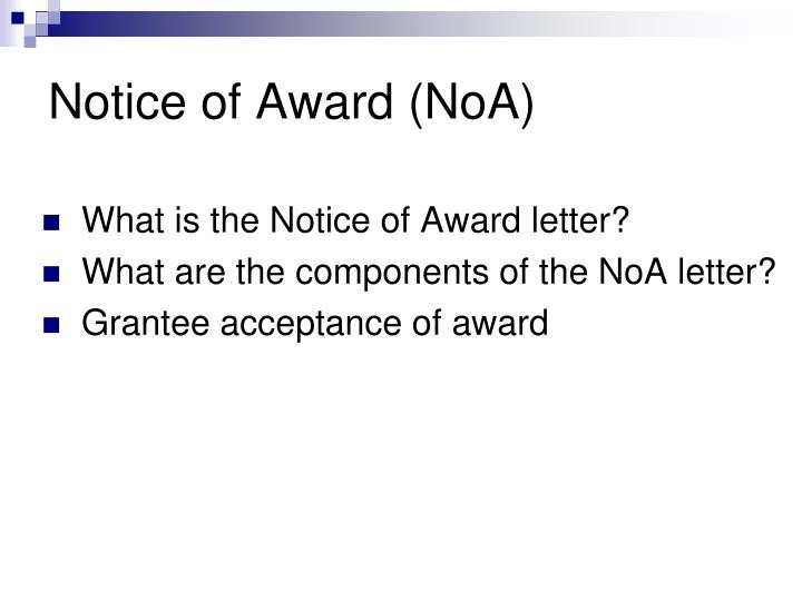 Notice of award noa