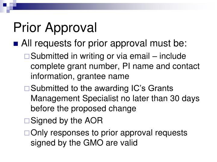 Prior Approval