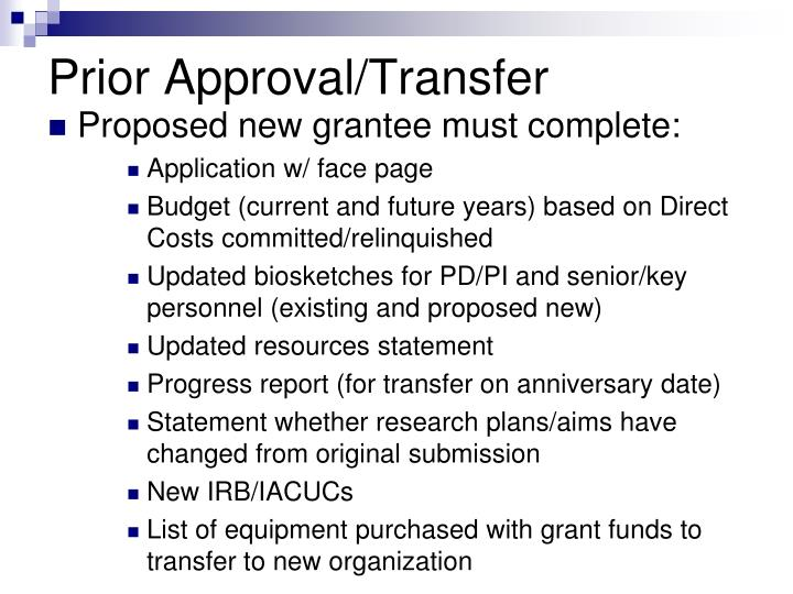 Prior Approval/Transfer
