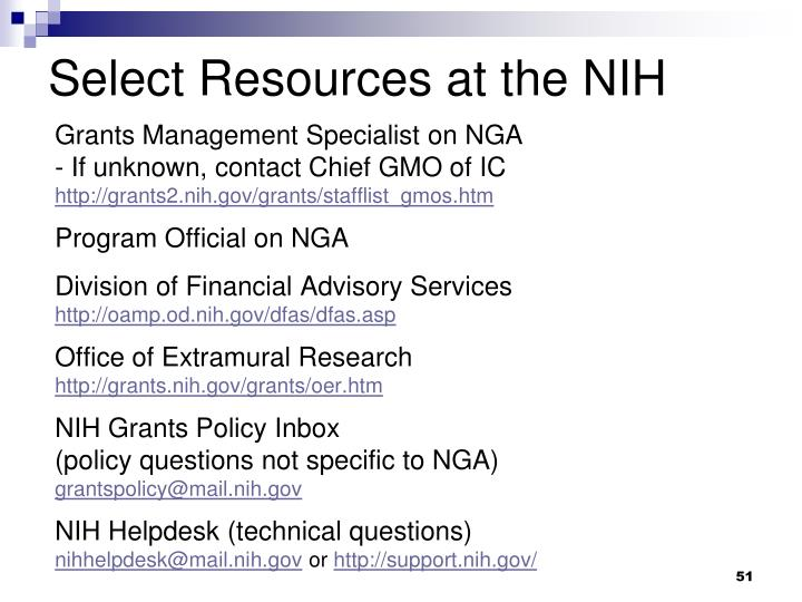 Select Resources at the NIH