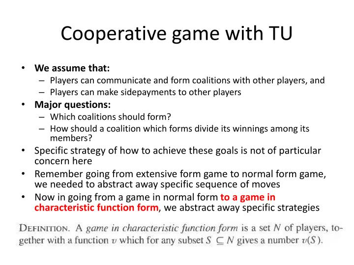 Cooperative game with TU
