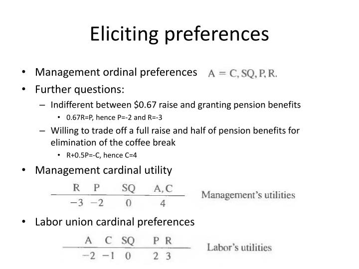 Eliciting preferences