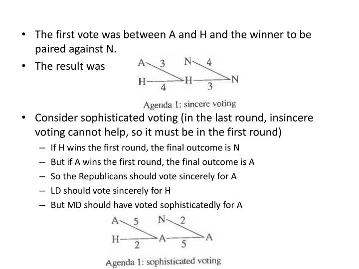 The first vote was between A and H and the winner to be paired against N.