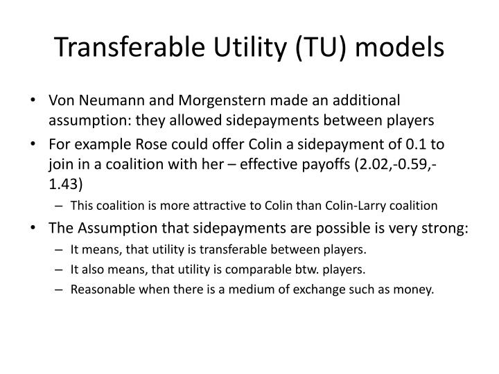 Transferable Utility (TU) models