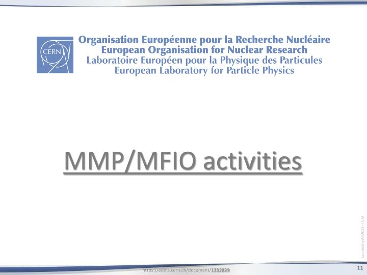 MMP/MFIO activities