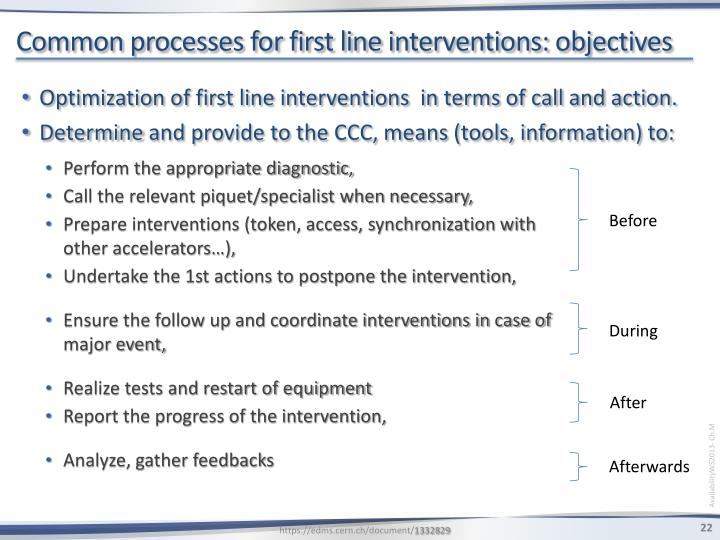 Common processes for first line