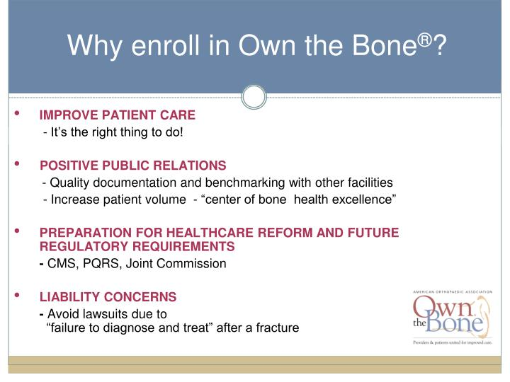 Why enroll in Own the Bone