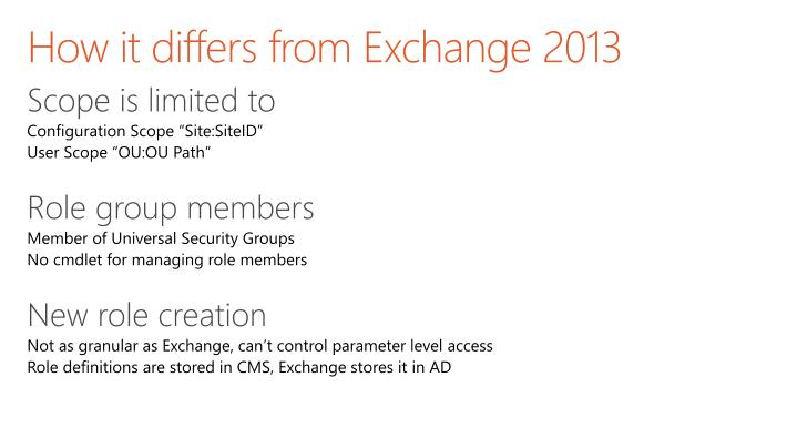 How it differs from Exchange 2013