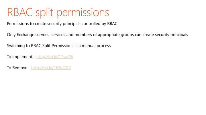 RBAC split permissions
