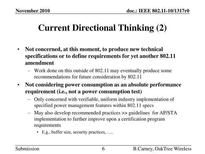 Current Directional Thinking