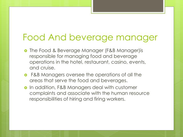 food and beverage manager essay