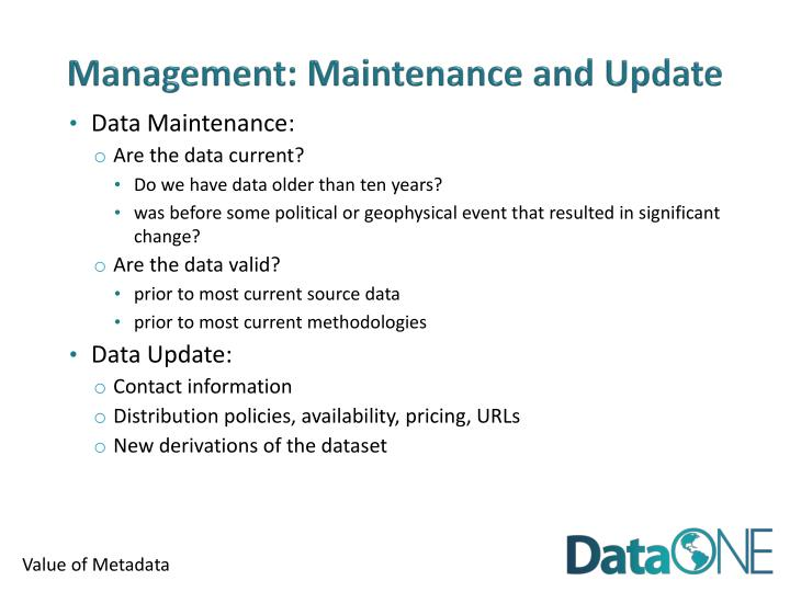 Management: Maintenance and Update
