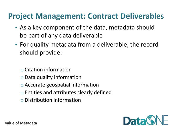 Project Management: Contract Deliverables