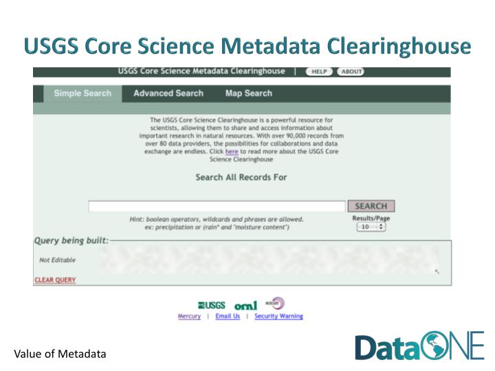 USGS Core Science Metadata Clearinghouse