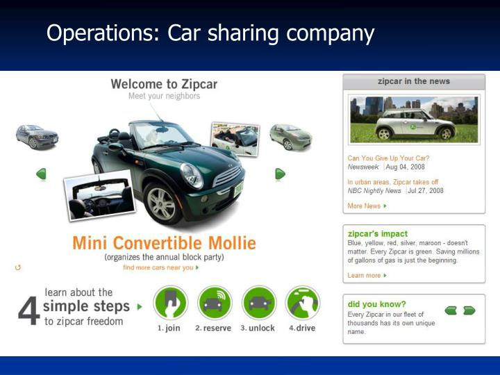 Operations: Car sharing company