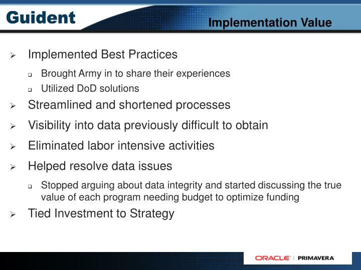 Implementation Value