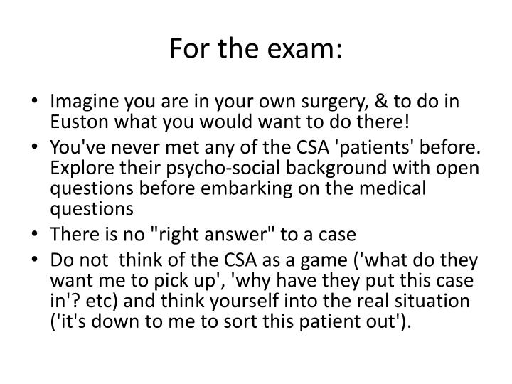 For the exam:
