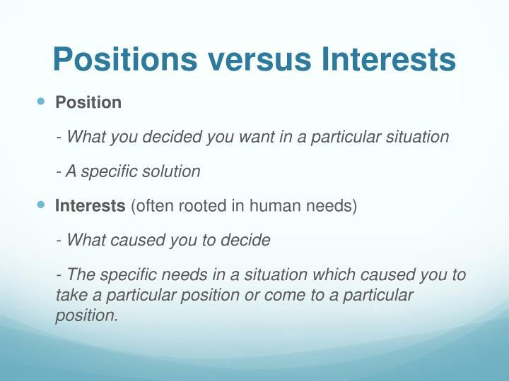 Positions versus Interests