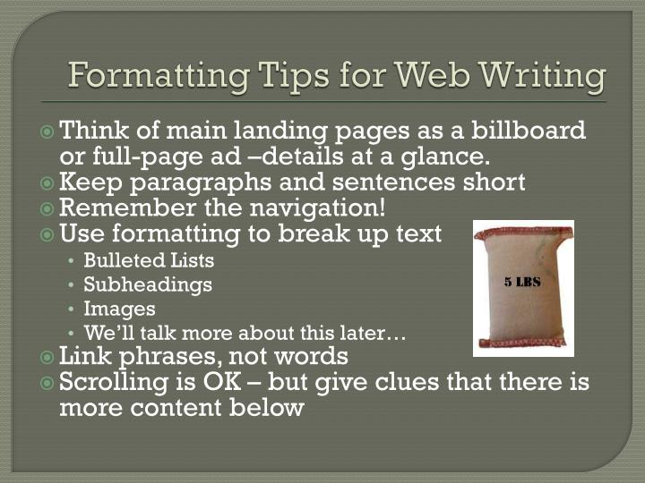 Formatting Tips for Web Writing