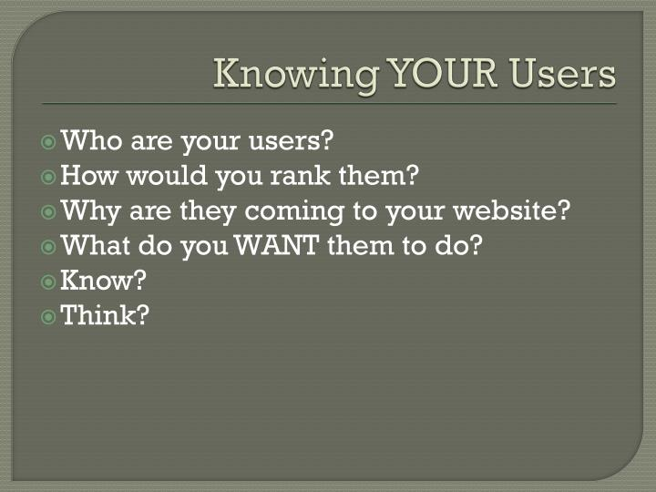 Knowing YOUR Users