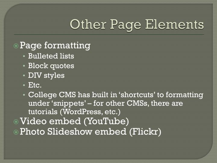 Other Page Elements