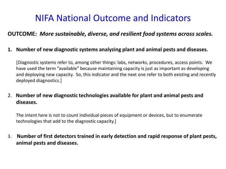 NIFA National Outcome and Indicators