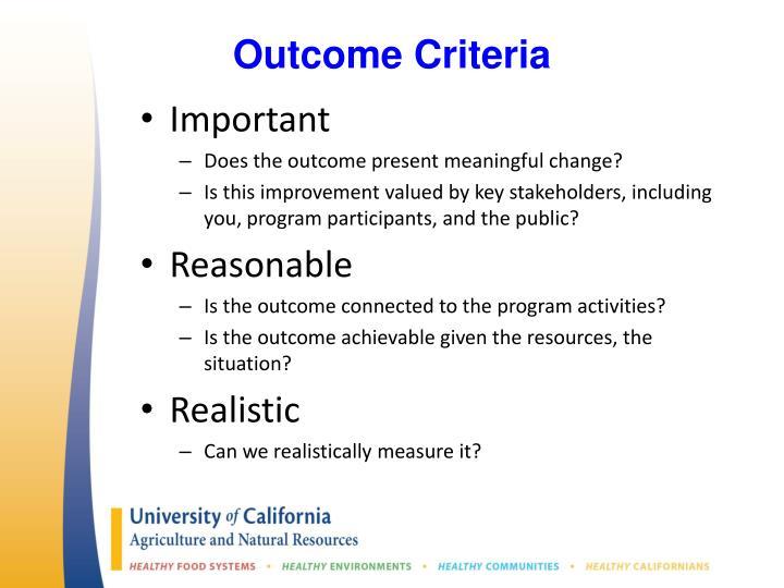 Outcome Criteria