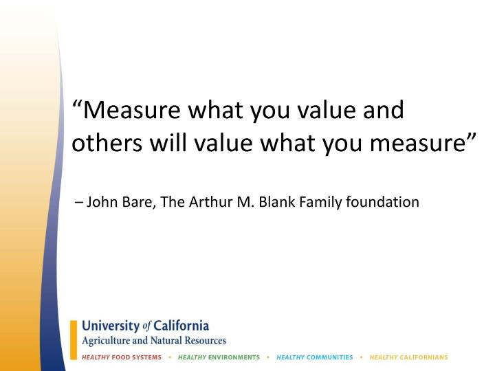 """Measure what you value and others will value what you measure"""