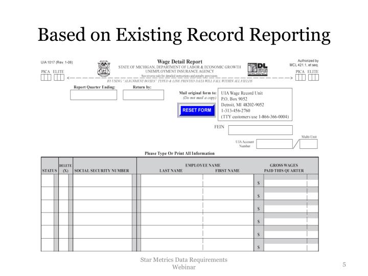 Based on Existing Record Reporting