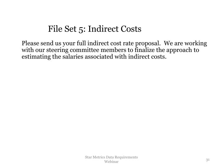 File Set 5: Indirect Costs