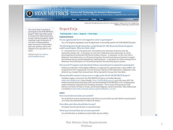 Star Metrics Data Requirements Webinar