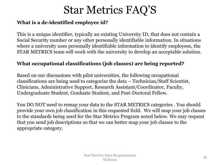 Star Metrics FAQ'S