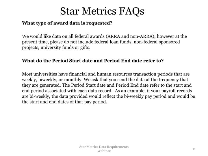 Star Metrics FAQs
