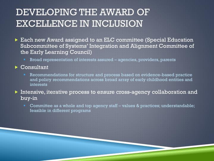 Developing the Award of Excellence in inclusion
