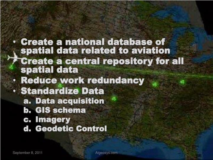 Create a national database of spatial data related to aviation