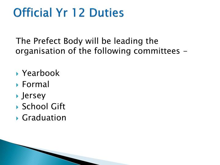 Official Yr 12 Duties
