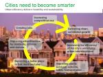 cities need to become smarter urban efficiency delivers liveability and sustainability