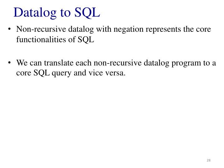 Datalog to SQL